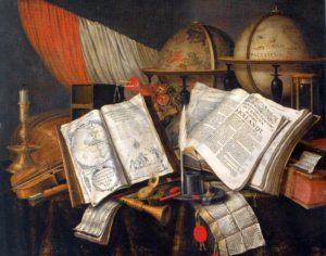 Vanitas con libri, mappamondi, strumenti musicali, candela e clessidra, Edwaert Collier_1662